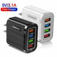 4 Ports Fast Charge QC 3.0 USB Hub Wall Charger Power Adapter US / EU Plug Tool