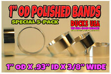 """Duck Call Bands Polished 1"""" Od Aluminum 5-Pack Super Nice Bands 3/8"""" Wide"""