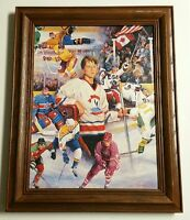 "Hockey Dreamer by Clement Micarelli Art Print on Canvas, Wood framed 15.5""x19.5"""