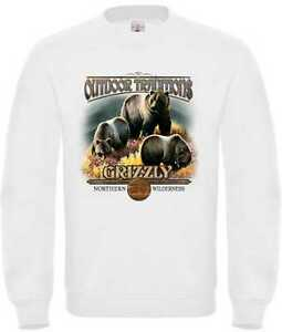 Sweatshirt in weiß mit einem Bären Natur-&Tiermotiv Modell Outdoor Tradition