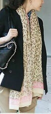 Leopard Print Scarf Shawl Wrap Sarong Pink Surrounding Border 40503