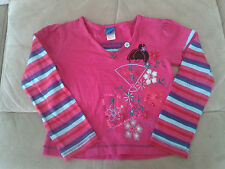 Girls 4 Years - Pink, Blue & Purple  Long Sleeved Top, Japanese Lady Motif