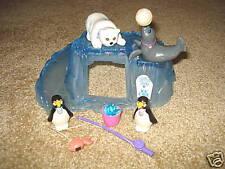 VINTAGE LITTLEST PET SHOP 1992 ZOO POLAR BEAR PENQUINS COMPLETE PLAYSET LOT