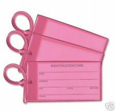 3x Pink Business Card ID Luggage Tag Set