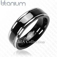 FAMA 6mm Solid TITANIUM Black Band with Double Stripe Ring Size 9-13