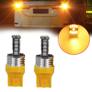 2x W21W T20 Led Amber Canbus 7440 Turn Signal Lights Brake Lamp Tail Light 45SMD