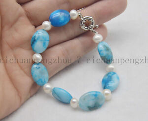 Natural 13x18mm Blue Crazy Lace Agate Gems & 7-8mm White Pearl Bracelet 7.5'' AA