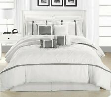 Vermont Silver & White 12 Piece Embroidered Comforter Bed In A Bag