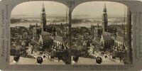 BELGIQUE Anvers Panorama, Photo Stereo Vintage Argentique PL62L9