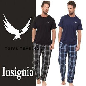 Mens Pyjamas Set  Cotton T-shirt top & Lounge Check  Bottoms Pants