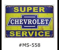 Tin Sign Super Chevrolet Service Chevy Cars Trucks Retro Metal Signs Plaques