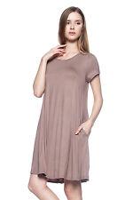 New Womens Mocha Basic Short Sleeve Side Pockets Long Tunic Swing Mini Dress L