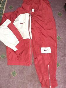 VTG 90s Nike Red & White Tracksuit Windbreaker Jacket & Jogger Pans Sz Medium
