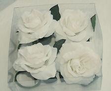 4 Serviettenringe oder Kerzenständerdeko von SIA - Stoffblumen/weiß  **NEU**