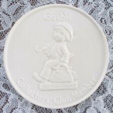 """Goebel Collectors' Club Member Bisque Plaque 3-7/8"""" Diameter Mint Condition"""