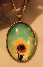 Lovely Shiny Rim Goldtone Sunflower with Fluffy Blue Sky Oval Pendant Necklace