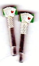 2- Royal Flush Cards Poker Metal Cribbage Pegs With FREE Black Velvet Bag USA  a