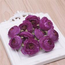 10Pcs Camellia Flower Heads for Wedding Hair Clip Corsage DIY Decor Crafts