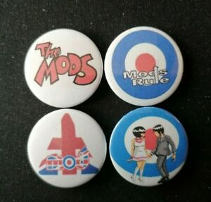 4 x Mods Theme 25mm Pin Button Badges  - Mods Rule / The Mods