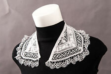 Vintage Victorian Cotton Lace Crochet Collar White w/ frilled edge 450mm Perfect