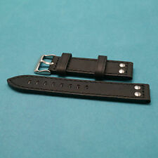 22mm Crazy Horse Cowhide Black Replacement Watch Strap fits All