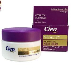 Cien Vitality Regenerative Night Cream Anti-Ageing Wrinkle Collagen Q10 Calcium