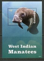 GRENADA  2015 WEST INDIAN MANATEES  SOUVENIR SHEET MINT NEVER HINGED