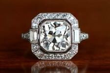 Vintage & Antique Wedding Ring 14K White Gold Solid 4 Ct Round Diamond Baguette