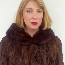 Authentic Fur Coat Women's large | Persian Lamb & Mink | Brown Chocolate