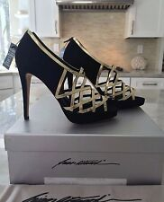 NIB BRIAN ATWOOD BLACK SUEDE GOLD METALLIC LEATHER PLATFORM CAGE PUMPS 38 US 8
