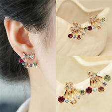 Korean bow earrings, crystal earrings, gold-plated color diamond earrings A086