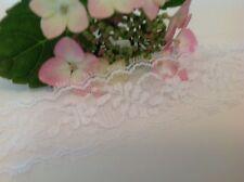 ENCAJE BLANCO poliéster bordado Floral Ribete 3.5cm Ancho 1.8mM ENVÍO GRATIS