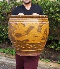 "Vintage Chinese Shiwan Dragons Pot Planter 18""x19.5"""