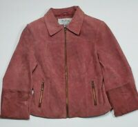 Womens Wilsons Leather Maxima Suede Motorcycle Jacket Zippers Dusty Rose Small S