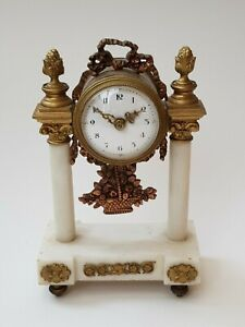 Antique-Regency-Marble Mounted Ornate Portico Clock With Bronze Fittings-c1830