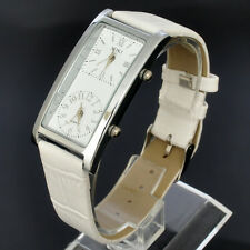 SOKI Womens Quartz Dual Dial Ladies White Leather Band Wrist Watch For Travel