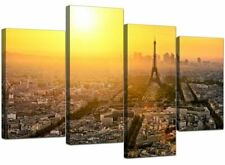 Large Paris Eiffel Tower Yellow Canvas Wall Art Prints Pictures 4153 Size 130 X