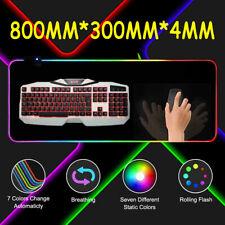 RGB Bunte LED Gaming Mauspad 300x800x4mm Spiele Matte Beleuchtung für PC Laptop