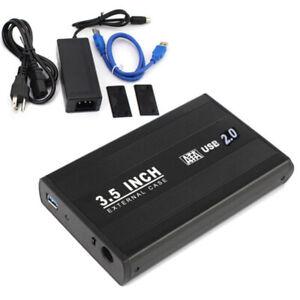 3.5 inch USB 2.0 Aluminum External SATA Hard Drive Enclosure Case BOX  BlACK