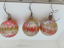 """New ListingAntique Christmas Ornaments End of Day Glass Hand Blown 1 1/2"""" Round Set Lot 3"""