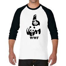 New Funny WWF Wild Panda Bear Wrestling The Rock Baseball 3/4 Raglan T-shirt Tee