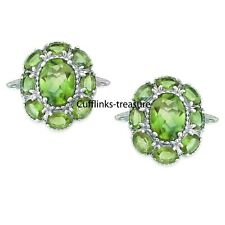 Sterling Silver Cufflinks For Men's Natural Peridot Gemstones With 925