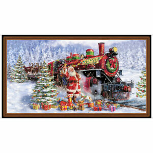 Santa's Night Out Train Fabric Panel 100% Quilters Cotton Christmas Holiday