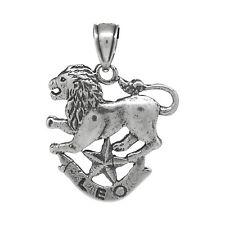 Leo Zodiac Jewelry Pendant Charm Sign Sterling Silver .925 Oxidized