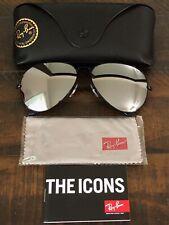 New Ray-Ban Aviator RB3026 Silver Mirrored Lenses Sunglasses Black Frame 62mm