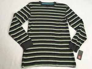 NWT Quiksilver Boys XL 16 Gray Black Neon Green Stripe Thermal Shirt Long Sleeve