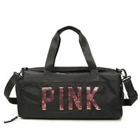 Victoria's Secret Pink Sequin Black Ladies Beach Weekend Holdall Gym Bag lbag129