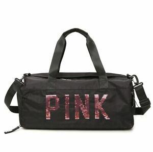 Victoria's Secret Pink Sequin Black Ladies Beach Weekend Holdall Gym Bag lbag129