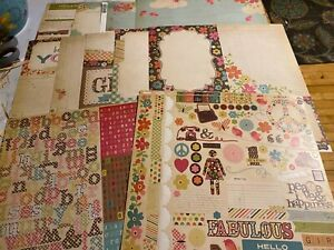 Simple Stories, Fabulous, Lot of NINE Papers and Stickers