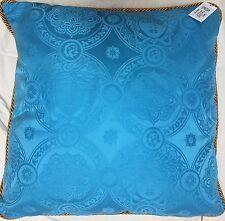 VERSACE HOME Blue Medusa Head Throw Cushion Pillow 19x19 BNWT Gold Cord Piping